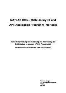 C++ Math Library v2 und API (Application Programm Interface)