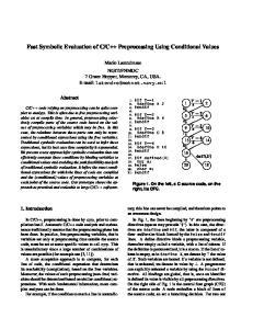 C++ Preprocessing Using Conditional Values