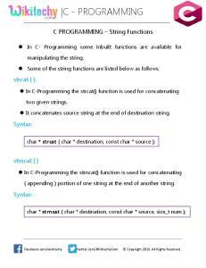 C - PROGRAMMING. C PROGRAMMING String Functions. In C- Programming some inbuilt functions are available for