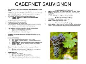 CABERNET SAUVIGNON. Secondary Flavors (Oak Aging) LIGHT OAK = vanilla, coconut, sweet wood HEAVY OAK = oak, smoke, tar, toast