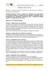 Cabezuela Del Valle. ASUNTO. Convocatoria Bolsa de Trabajo para Auxiliares de Limpieza en la Residencia de Mayores