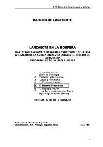 CABILDO DE LANZAROTE LANZAROTE EN LA BIOSFERA