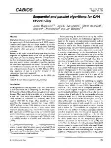CABIOS. Sequential and parallel algorithms for DNA sequencing