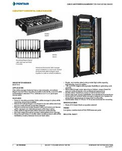 Cable and Power Management. Open-Frame Rack Cable Managers