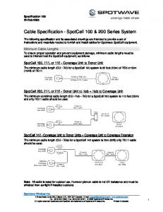Cable Specification - SpotCell 100 & 200 Series System