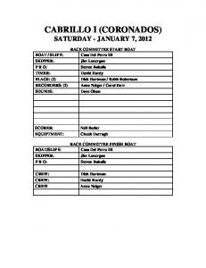 CABRILLO I (CORONADOS) SATURDAY - JANUARY 7, 2012