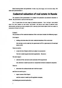 Cadastral valuation of real estate in Russia