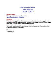 Caddo Parish Public Schools. School Supply List