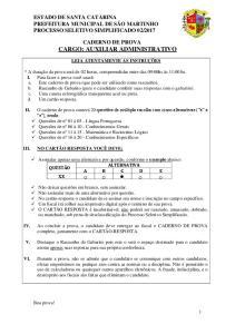 CADERNO DE PROVA CARGO: AUXILIAR ADMINISTRATIVO