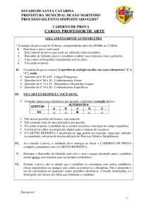 CADERNO DE PROVA CARGO: PROFESSOR DE ARTE