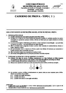 CADERNO DE PROVA - TIPO ( 1 )