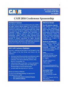 CAIR 2016 Conference Sponsorship