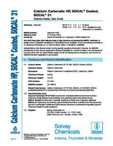 Calcium Carbonate HP, SOCAL Coated, SOCAL 31