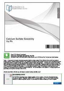Calcium Sulfate Solubility Vs Ph