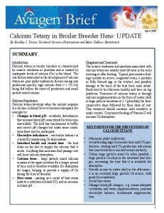 Calcium Tetany in Broiler Breeder Hens: UPDATE