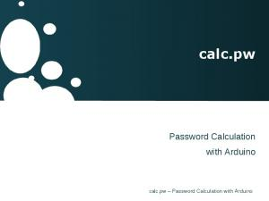 calc.pw Password Calculation with Arduino calc.pw Password Calculation with Arduino