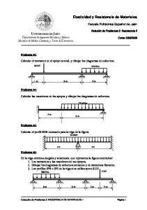 Calcular el momento en el apoyo central, y dibujar los diagramas de esfuerzos. 6 m