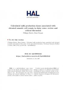 Calculated milk production losses associated with elevated somatic cell counts in dairy cows: review and critical discussion