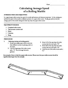 Calculating Average Speed of a Rolling Marble