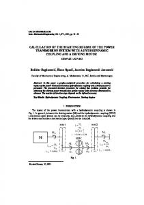 CALCULATION OF THE STARTING REGIME OF THE POWER TRANSMISSION SYSTEM WITH A HYDRODYNAMIC COUPLING AND A DRIVING MOTOR UDC