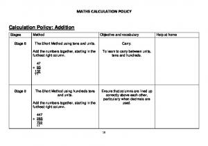 Calculation Policy: Addition