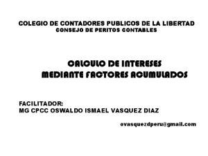 CALCULO DE INTERESES MEDIANTE FACTORES ACUMULADOS
