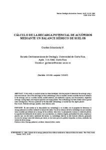 CÁLCULO DE LA RECARGA POTENCIAL DE ACUÍFEROS MEDIANTE UN BALANCE HÍDRICO DE SUELOS