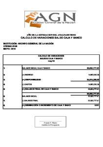 CALCULO DE VARIACIONES SALDO CAJA Y BANCO