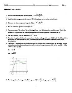Calculus 1 Test 4 Review