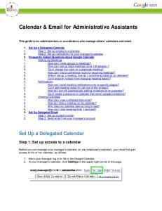 Calendar &  for Administrative Assistants