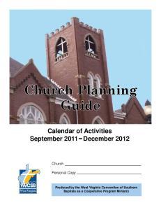 Calendar of Activities September 2011 December 2012