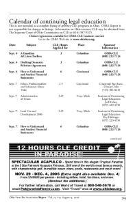 Calendar of continuing legal education