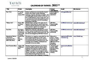 CALENDAR OF EVENTS *