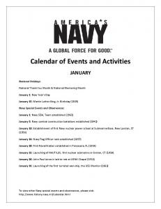 Calendar of Events and Activities