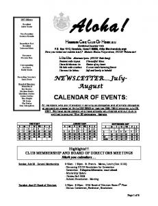 CALENDAR OF EVENTS: AUGUST 2007 S M T W TH F S