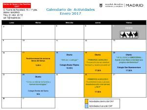 Calendario de Actividades Enero 2017