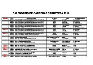 CALENDARIO DE CARRERAS CARRETERA 2014
