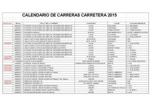 CALENDARIO DE CARRERAS CARRETERA 2015