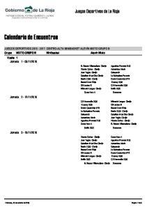 Calendario de Encuentros