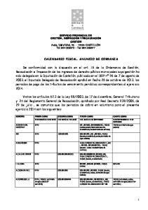 CALENDARIO FISCAL. ANUNCIO DE COBRANZA