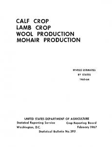 CALF CROP LAMB CROP WOOL PRODUCTION MOHAIR PRODUCTION