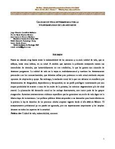 CALIDAD DE VIDA DETERMINADA POR LA