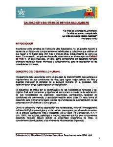 CALIDAD DE VIDA: ESTILOS DE VIDA SALUDABLES