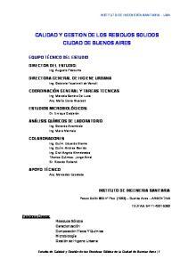 CALIDAD Y GESTION DE LOS RESIDUOS SOLIDOS CIUDAD DE BUENOS AIRES