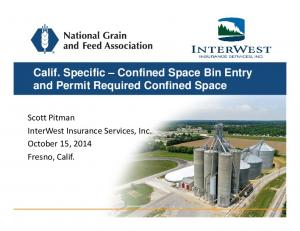 Calif. Specific Confined Space Bin Entry and Permit Required Confined Space