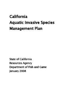 California Aquatic Invasive Species Management Plan