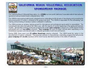 CALIFORNIA BEACH VOLLEYBALL ASSOCIATION SPONSORSHIP PACKAGE