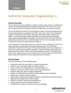 California Computer Programming I A