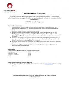 California Dental HMO Dental HMO Plan