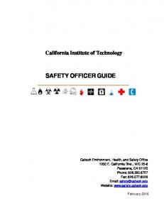 California Institute of Technology SAFETY OFFICER GUIDE
